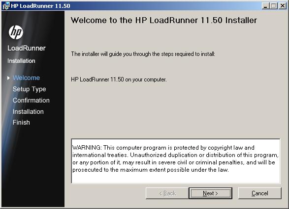 LoadRunner 11.5 Install - Step 2