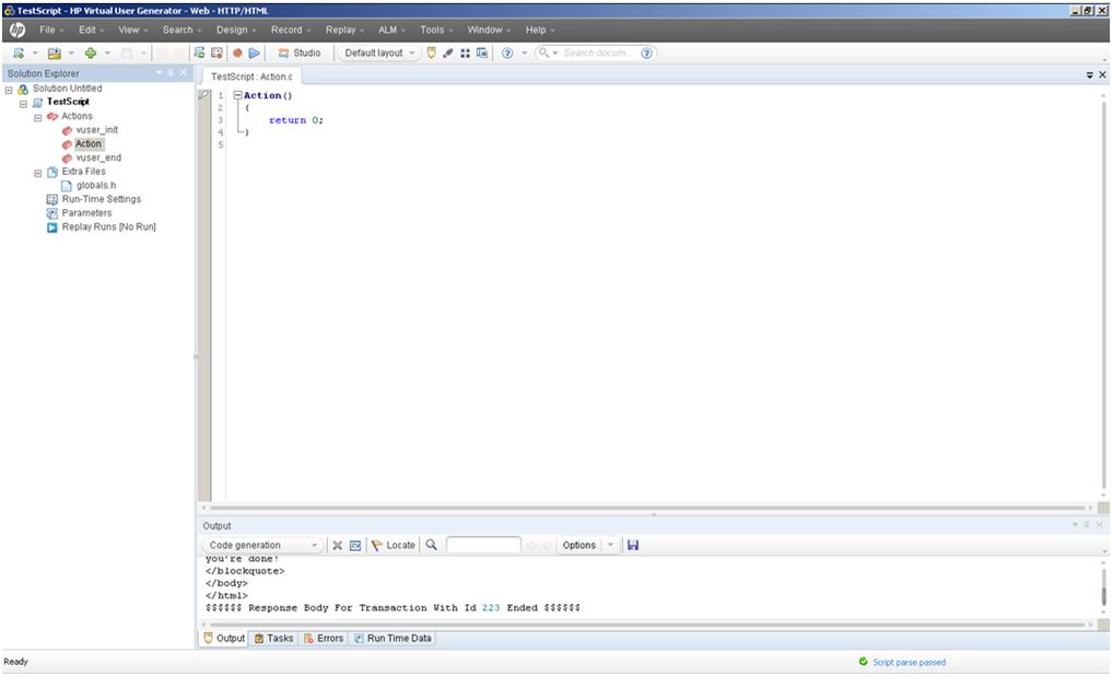 LoadRunner 11.5 VuGen Layout