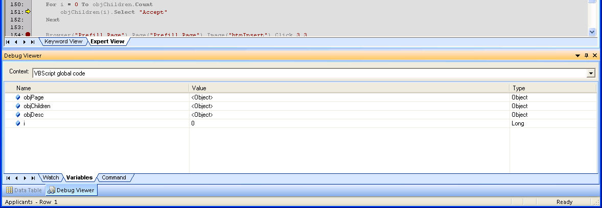 QTP Limited Debugging w/ PDM.dll (7.10.3077) - Variables